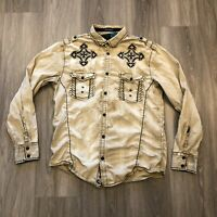 Roar Signature Mens Large Tan Embroidered Button Up Shirt
