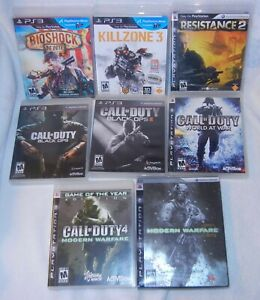 Lot of 8 PS3 Shooter Games Call of Duty Black Ops, Modern Warfare, Killzone