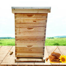10 Frame 3 Layer Bee House Kit Hive Wax Coated Corrosion Proof For Beekeeping Us