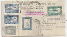1933 PARAGUAY TO GERMANY REG ZEPPELIN COVER, INCREDIBLE FRANKING !!
