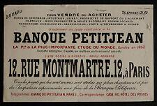 BUVARD PUBLICITAIRE ANCIEN : BANQUE PETITJEAN PARIS