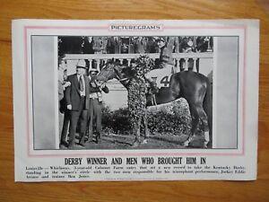 Picturegrams Louisville - WHIRLAWAY Arcaro KENTUCKY DERBY Poster HORSE RACING
