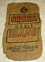 Vintage Cadillac U.S. No.1 Idaho Potatoes Burlap Sack, Bag Idaho Falls, Idaho X1