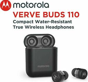 Motorola Verve Buds 110 Black Bluetooth Earbuds Wireless & Charging Base  white