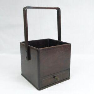 D0328: Japanese tobacco tray with drawer of popular KARAKI wood with good taste