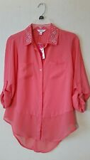 NWT Jr Blouse by Candies, Coral w/Rhinestone Detail Collar, size S