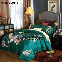 Egyptian Cotton Luxury Oriental Peacock Embroidery Bedding Set Duvet Cover  4pcs