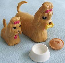 2 x Mattel BARBIE Walking DOGS - With Food & Bowl