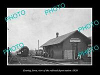 OLD LARGE HISTORIC PHOTO OF ZEARING IOWA, THE RAILROAD DEPOT STATION c1920