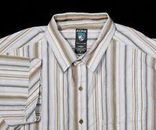 Mens KUHL Shirt XL in Gold Silver Western Stripe SS 'Suncel' Cotton-Tencel