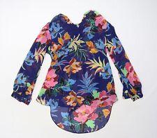 Matalan Womens Black Floral Chiffon Basic Blouse Size 14