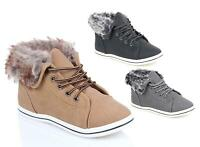 WOMENS LADIES GIRLS HIGH FASHION CASUAL TRAINERS FLAT LACE UP FUR SHOE SIZE 3-8