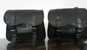 Leather Motorcycle Saddle Bag Handmade Leather 2 Side Bags Panniers Saddlebags