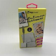 DigiPower Instant Camera - 3 pc Set Album Clip & Frame Kit Black White Polka Dot