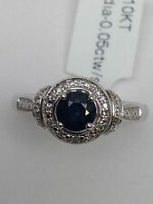 10K White Gold Natural Round Sapphire and Diamond Cluster Ring Size 7.25