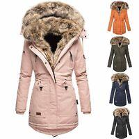 Womens Fur Lined Parka Jacket Coat Ladies Hooded Outwear Winter Warm Overcoat UK
