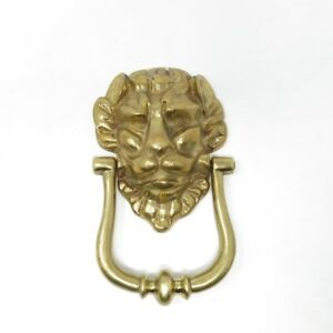 "Vintage Lion's Head Heavy Brass Door Knocker with Screws 7 1/4"" Tall"