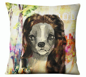 S4Sassy Decorative Artistic Dog Print Multicolour Pillow Case Square-adn