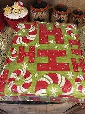 Debbie Mumm Christmas Holiday Quilt PEPPERMINT CANDY Canes SNOWFLAKES Wreath Pic