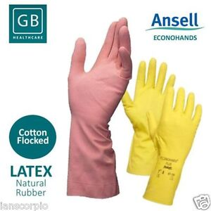 12 Pairs Ansell Econohands Plus Quality PINK Latex Gloves - Size 9.5 - 10 MED+