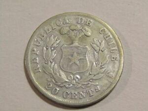 Chile 1867-So 20 Centavos Silver Coin