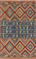 Super Kazak Oriental Area Rug Wool Hand-Knotted Geometric All-Over Carpet 4x6