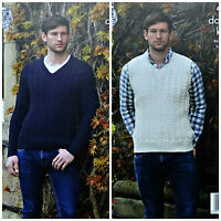 KNITTING PATTERN Mens V-Neck Cable Jumper &Sleeveless Slipover DK King Cole 4939