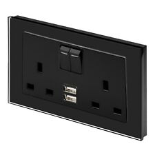 RetroTouch Double Switched 13A Plug Socket 2.1A USB Black Glass PG 00659