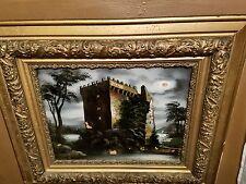 Antique reverse glass painting castle