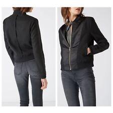 Designer LABEL LAB Ladies Black Satin & Melton Bomber Jacket / UK 12 / RRP £69