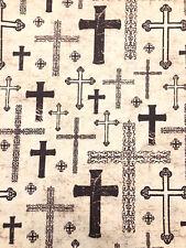 FQ CROSS FABRIC Fat Quarter Religious Christian God COTTON 18