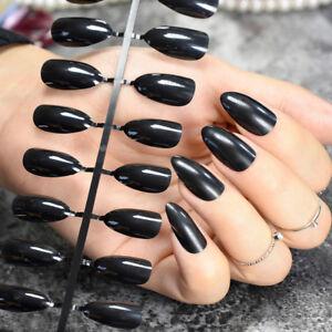 New False fake Nails Medium french airbrushed ful nail art gel acrylic  24/1