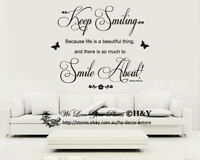 Keep Smiling Marilyn Monroe Wall Art Quotes Removable Wall Stickers Decals Art