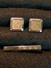 Tie Clip Set (2 Tone Gold Silver) Vintage Hickok Fleur De Lis Cufflinks /