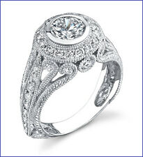 1 Carat Antique Style Diamond Ring in 18K White Gold with HALO design Semi Mount