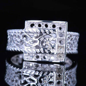 Special 14K White Gold Prong Setting Vintage Ring Engagement Wedding Party Band