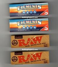 4 PACK SAMPLER 1 1/4 SIZE RAW Classic & ELEMENTS Ultra Thin Rice Rolling Papers