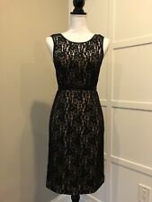 BCBG MAXAZRIA Dress Size 2 Black Lace Sweetheart Neck Exposed Silver Zipper