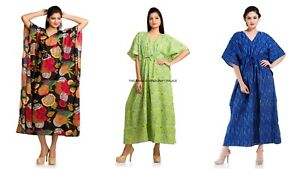 Plus Size Women Short Sleeve Kaftan Dress 3 PC Combo Cotton Beach Cover Up Maxi