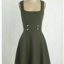 Modcloth Mystic Olive Green Military Dress