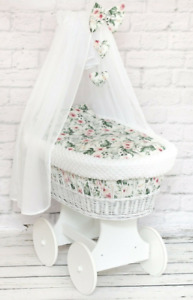 BABY FULL BEDDING SET WITH CANOPY TO FIT WICKER MOSES BASKET GARDEN FLOWERS