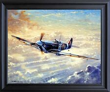 Spitfire Painting Military Airplane Aviation Wall Decor Black Framed Picture ...