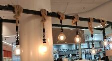Industrial 1/2/3 Vintage Jute Rope Loft Pendant Ceiling Light Funiture Decor E27