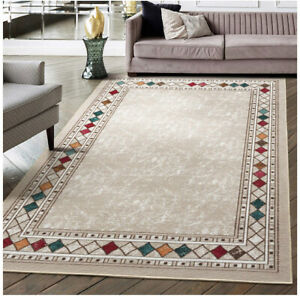 Modern Bordered 8x10 (Non-Slip) Low Profile Pile Rubber Backing Indoor Area Rug