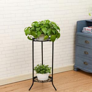 Plant Stand 2 Tier Metal Flower Pots Holder Rack Display Shelf Indoor Outdoor