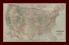 UNITED STATES, MAP by FRANK GRAY, Large, hand color, engraved, original 1884