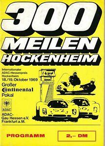 1969 Hockenheim  300 Meilen race program  Sports Prototype, Formula Vee, Touring