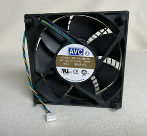 """AVC DS12025B12H Ball Bearing Fan 4-Wire 12V 120mm 4.75"""" Square with Steel Guard"""