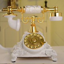 Vintage Antique Retro Rotary Handset Desk Resin Telephone European Style White
