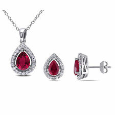 Amour Sterling Silver Created Ruby & White Sapphires Earring and Necklace Set